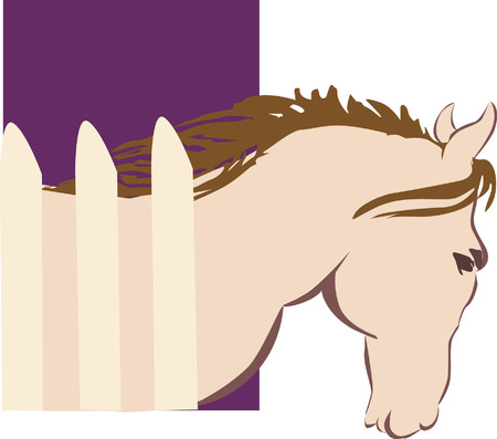 Horse walking next to a fence Vector