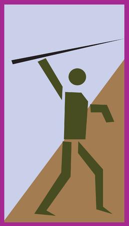 lanzamiento de jabalina: Un s�mbolo de lanzar jabalina  Vectores
