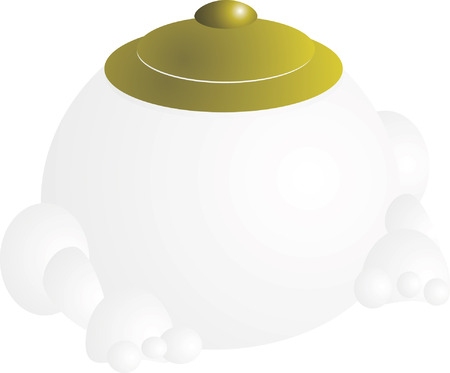 White Chinese pot with green cap sitting   Vector
