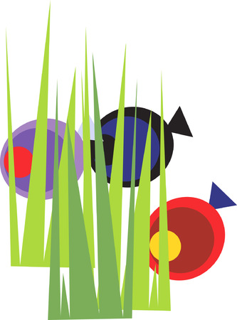 Three fish behind  the grass. Vector