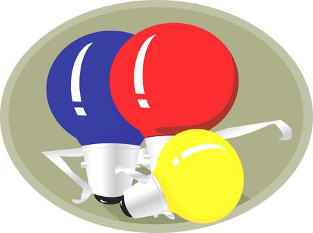 Three colour bulb  Vector