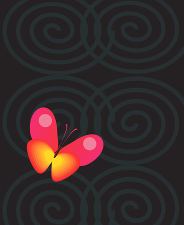 A butterfly in a dark ring Stock Vector - 1975392