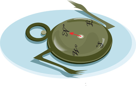 Compass having two hand , showing direction