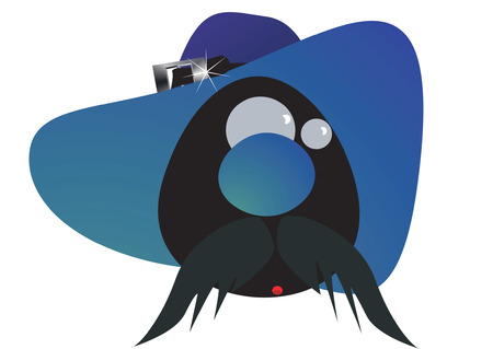 resizable: Cartoon face having loge moustache with a cap on head