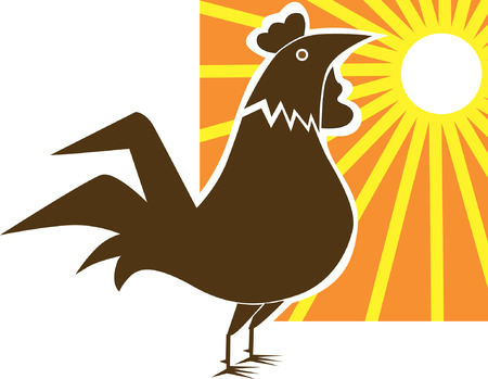 rooster and morning sun: A Rooster, Illustration