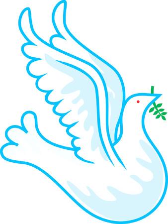 few: A dove flying catching few leaves Illustration