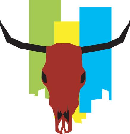 bull's skull with horns Vector