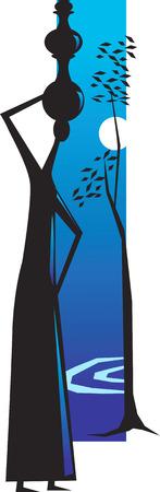 volle maan: Een vrouw die water pot op haar hoofd van een rivier en een boom naast het en een volle maan.  Stock Illustratie