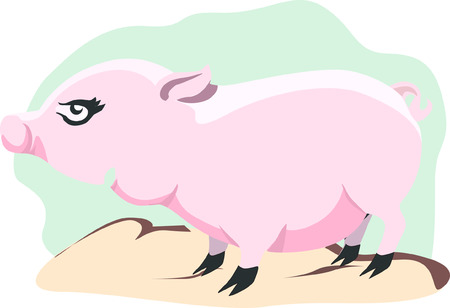 sniffer: Pig standing alone on top of a surface Illustration
