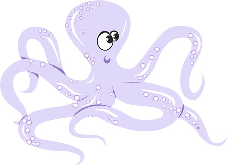 An octopus crawling beyond white surface Vector