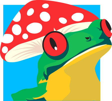 croaking: A green frog sitting under  red coloured mushroom