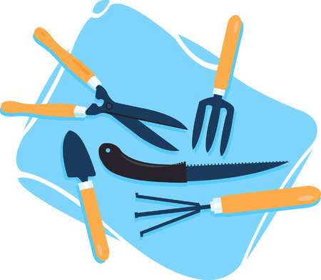 gardening hoses: Gardening tools spread on a blue coloured bag.