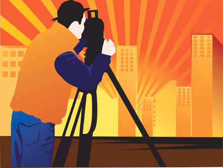 geodetic: Silhouette man takes photo facing the sun.