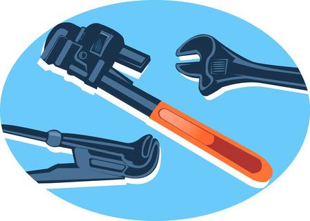 hand trowel: Various type of adjustable spanners laid in blue floor  Illustration