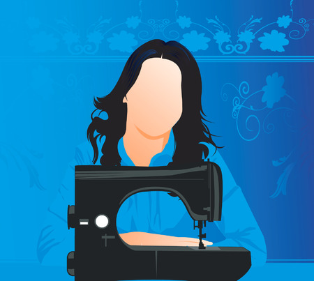 A silhouette lady sitting near a sewing machine