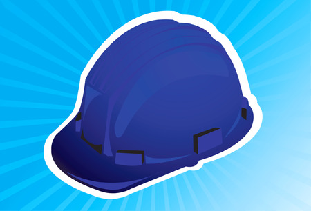 mine site: A blue colour hard hat in blue radiant light