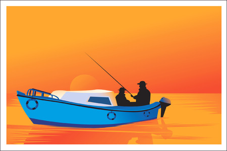 fisherman boat: Two silhouette men fishing with boat