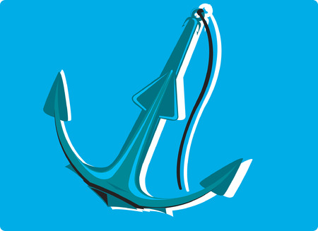 mooring anchor: An anchor with chain in blue