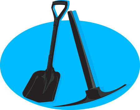 pick axe: A shovel and pick axe in blue plane