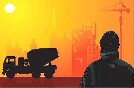 shipper: A silhouette man standing apart from a truck in evening light