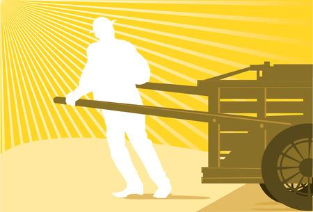 hand cart: Hombre tirando el carrito de mano o de mortero a destino