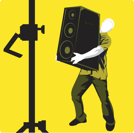 speaker box: A silhouette man placing loud speaker box in the stand