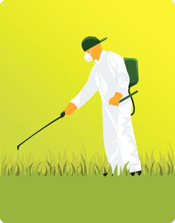 overol: Una silueta hombre de la m�scara de bombeo de plaguicidas en el campo  Vectores