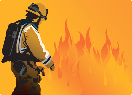 starving: A fire fighter moving towards heavy flame to extinguish fire