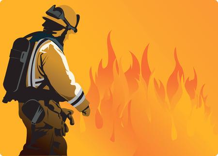 incendio bosco: Un fuoco di combattenti verso pesanti fiamma per estinguere il fuoco  Vettoriali