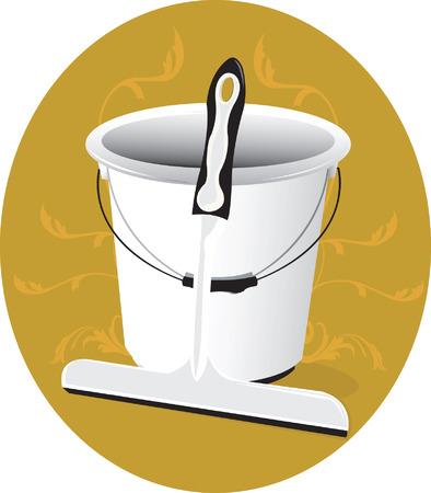 bucket water: Un cubo de agua y el suelo limpio
