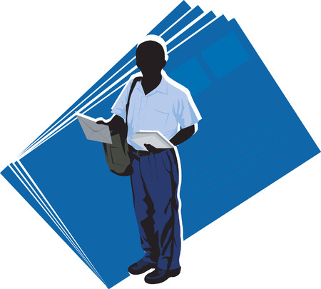 post man: A post man in his work near to big letters