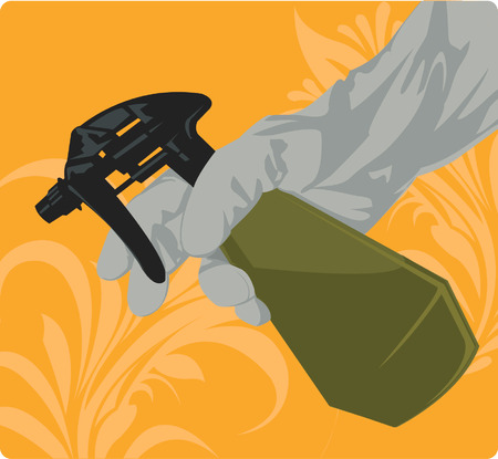 fertilizing: A silhouette hand spray lotion from hand spry Illustration