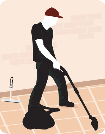vacuum cleaner: A silhouette man cleaning the floor with vacuum cleaner Illustration