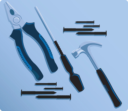A set of working tools displayed Vector