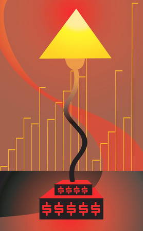 table lamp: a table lamp on Dollar crest in radiant light Illustration