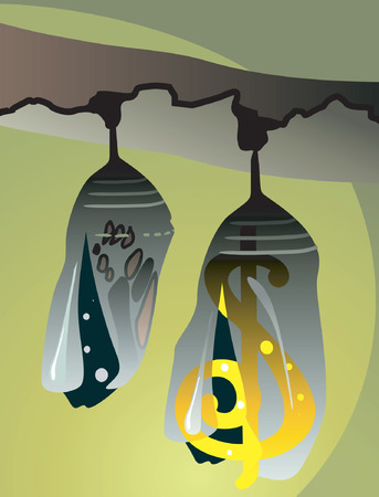 sealing: two bird's nest with dollar hanging from a sealing Illustration