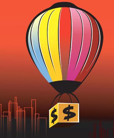 multi coloured: multi coloured air balloon carrying  a dollar box