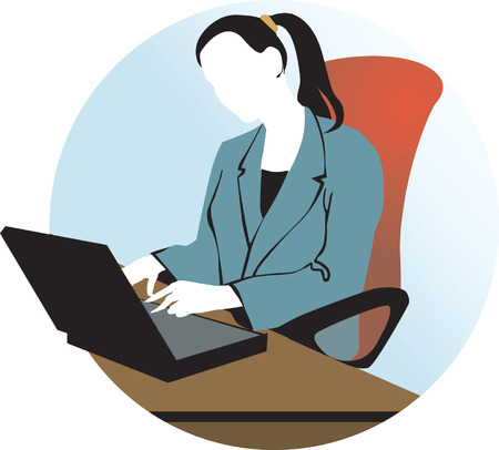 man with laptop: A lady working with her laptop Illustration