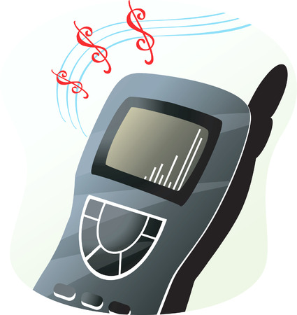 mobilephones: Mobile phone is ringing with music notes Illustration
