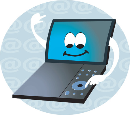 key pad: Laptop smiling in a internet symbol round Illustration