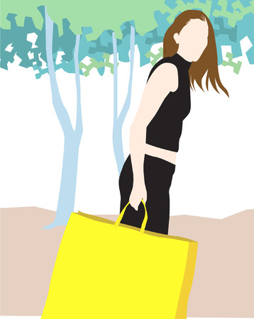 Illustration of silhouette of lady walking with shopping bag  Vector