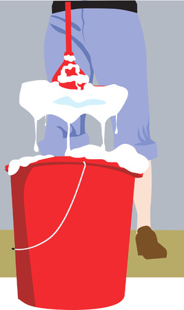 neatness: Illustration of a house keeper cleaning floor with detergent