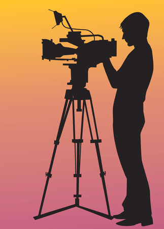 Illustration of silhouette of a videographer shooting with his video camera  Vector