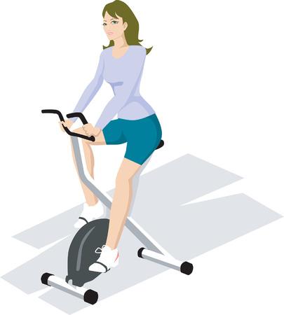Illustration d'une femme exer�ant gagner gym