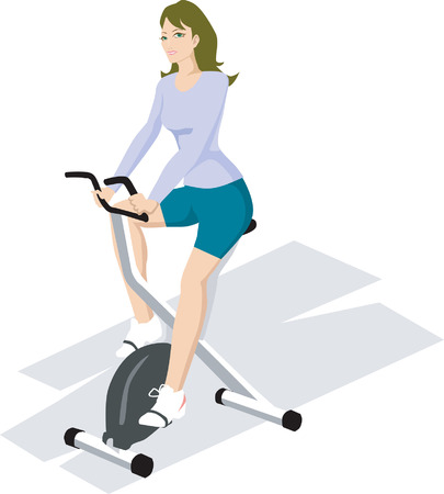 Illustration of a female exercising win gym