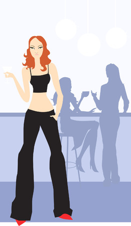Illustration of a female standing near silhouette of two female  Illustration