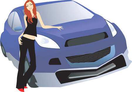 Illustration of silhouette of a lady standing near a luxury car Stock Vector - 2114539