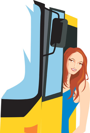 Illustration of a lady alighting from a bus   Vector