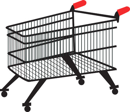 Illustration of a metallic trolley with handle    Vector