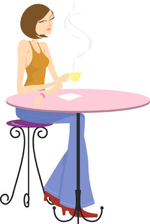 Illustration of a lady drinking coffee in a cafeteria